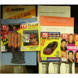 "1342 _ Partial Box of ""Syntex…Palo Alto, Ca."" labels; several old Antique Magazines; May, 2004 TV Gu"