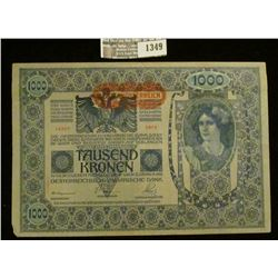 1349 _ 1902 Banknote One Thousand Kronen from Austria, small left lower corner damage, otherwise nea
