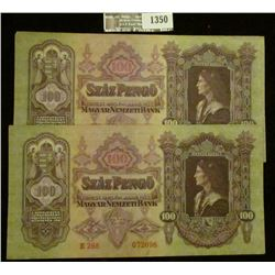 1350 _ Rare pair of Consecutively serial numbered Crisp Uncirculated 1930 Budapest, Hungary 100 Peng
