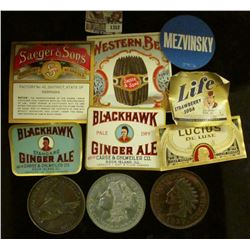 "1352 _ (7) Different Bottle Labels; Indian cent, Flying Eagle Cent, & Morgan Dollar 3"" metal replica"
