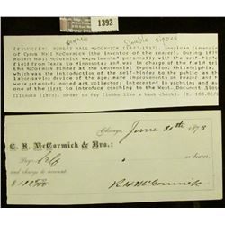 "1392 _ 1873 Personally signed check ""C.H. Mc Cormick & Bro. Chicago"" made to Pay self $110.50 and si"