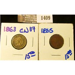 1409 _ 1863 Copper-nickel and 1865 Indian Head Cents