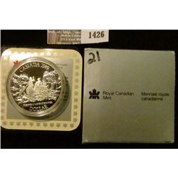 1426 _ 1989 Royal Canadian Mint Proof Silver Mackenzie River Dollar in original case of issue with c