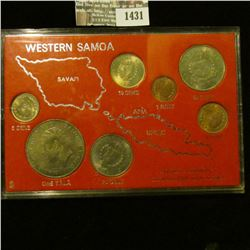 "1431 _ ""Western Samoa Decimal Currency Introduced July 10, 1967"" in plastic case with seven coins. A"