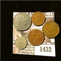 1432 _ Foreign Coin Lot: 1942 Iceland 2 Aurar; 1950 Netherlands 10 Cents; 1974 Norway 5 Ore; 1950 D