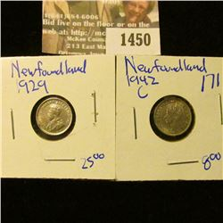 1450 _ Newfoundland 1929  and 1942-C Silver 5 Cent Pieces