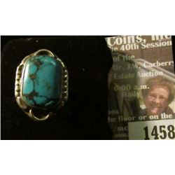 1458 _ Size 6 1/2 American Indian Turquoise and Sterling Silver Ring.