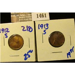 1461 _  Better Grade 1912-S and 1913-S Wheat Cents