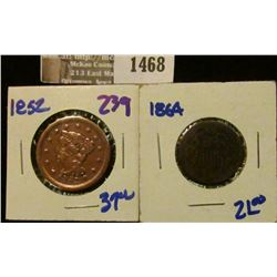 1468 _ 1852 Large Cent and 1864 Two Cent Piece