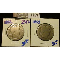 1469 _ 1892 and 1893 Barber Half Dollars