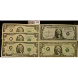 1475 _ Series Of 1935-C One Dollar Blue Seal Silver Certificate, Three Crisp, Consecutive Two Dollar