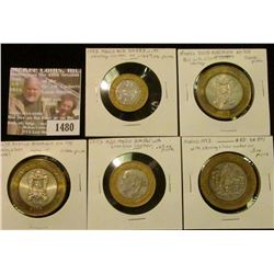 1480 _ (5) Mexico Bi-metal Silver/Brass Coins containing over 2 ounces of pure .999 fine Silver.