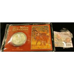 1493 _ 1997 Silver One Ounce Kangaroo from the Australian Mint. Frosted Reverse Proof.