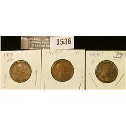 1536 _ 1919 P, D, & S Lincoln Cents grading good to extra Fine.