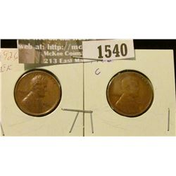 1540 _ 1926 P EF & 26 D G U.S. Wheat back Lincoln Cents.