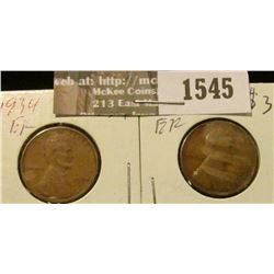 1545 _ 1934 P & D U.S. Wheat back Lincoln Cents. Both EF.