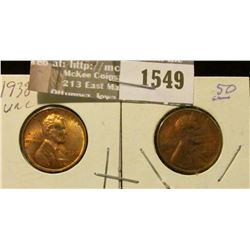 1549 _ 1938 P & 39 P Lincoln Cents, both Uncirculated with some carbon spotting.