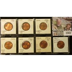 1583 _ 1982 P & D Seven-Piece Variety Uncirculated Lincoln Cent Set.