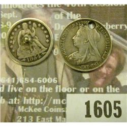 1605 _ Love Token DA on British 6-Pence & D on 1854 Arrows  Liberty Seated Dime.