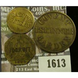 1613 _ 31mm Brass Covent T. Skinner Garden One Shilling Token, 18mm Brass Glasthof Frisen, 15, Token