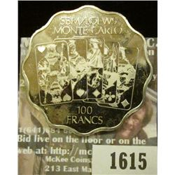 1615 _ SBM/Loews Monte-Carlo 100 Francs. Gaming Token Silver Colored Proof Like BU.