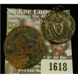 1618 _ 1492-1910 Columbus Day Massachusetts Medal and Goffstown NH. Masonic Temple, Bronze Medal wit