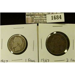 1684 _ 1867 France Silver 1 and 2 Francs.