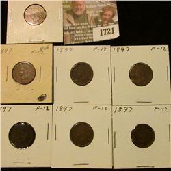1721 _ (7) 1897 Indian Head Cents. F-12.