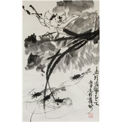 Chinese Ink Shrimp and Lotus on Paper Roll Signed