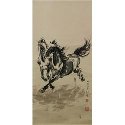 XU BEIHONG Chinese 1895-1953 Ink on Paper Scroll