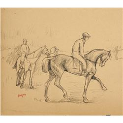 EDGAR DEGAS Charcoal on Paper Jockey with Horse