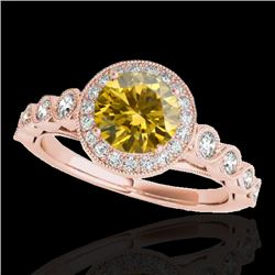 1.5 CTW Certified Si/I Fancy Intense Yellow Diamond Solitaire Halo Ring 10K Rose Gold - REF-178H2A -