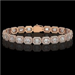 14.57 CTW Emerald Cut Diamond Designer Bracelet 18K Rose Gold - REF-3045X6T - 42663