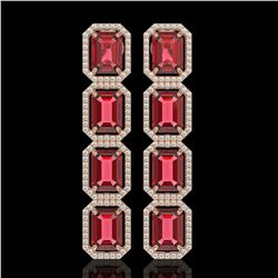 19.44 CTW Tourmaline & Diamond Halo Earrings 10K Rose Gold - REF-290W9F - 41589