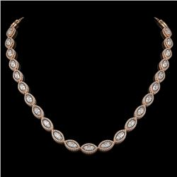 24.42 CTW Marquise Diamond Designer Necklace 18K Rose Gold - REF-4479X3T - 42651