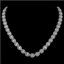 28.74 CTW Pear Diamond Designer Necklace 18K White Gold - REF-5269W3F - 42641
