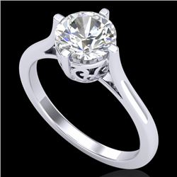 1.25 CTW VS/SI Diamond Solitaire Art Deco Ring 18K White Gold - REF-490H9A - 37226