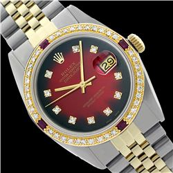 Rolex Men's Two Tone 14K Gold/SS, QuickSet, Diam Dial & Diam/Ruby Bezel - REF-557A2N