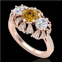 2.26 CTW Intense Fancy Yellow Diamond Art Deco 3 Stone Ring 18K Rose Gold - REF-254T5M - 37750