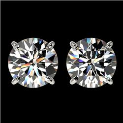 3.05 CTW Certified H-I Quality Diamond Solitaire Stud Earrings 10K White Gold - REF-645H2A - 36691