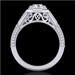 0.84 CTW VS/SI Diamond Solitaire Art Deco Ring 18K White Gold - REF-236W4F - 37091