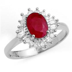 1.55 CTW Ruby & Diamond Ring 18K White Gold - REF-47A8X - 13206