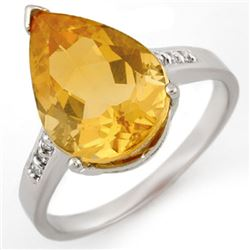 5.10 CTW Citrine & Diamond Ring 10K White Gold - REF-21H8A - 11081