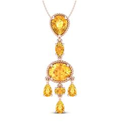 8 CTW Citrine Necklace Designer Vintage 10K Rose Gold - REF-34X4T - 20398