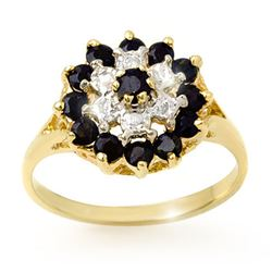 1.02 CTW Blue Sapphire & Diamond Ring 10K Yellow Gold - REF-19A8X - 12311