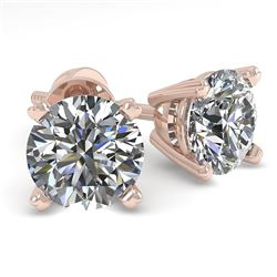 1.0 CTW VS/SI Diamond Stud Designer Earrings 18K Rose Gold - REF-155W3F - 32261
