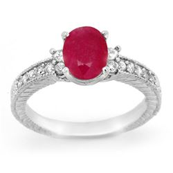 2.31 CTW Ruby & Diamond Ring 14K White Gold - REF-52X5T - 13844