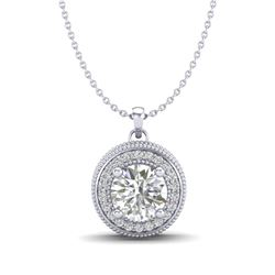 1.25 CTW VS/SI Diamond Solitaire Art Deco Stud Necklace 18K White Gold - REF-218T2M - 37142