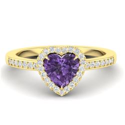 1 CTW Amethyst & Micro Pave Ring Heart Halo 14K Yellow Gold - REF-33M6H - 21401