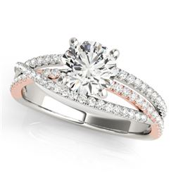1.4 CTW Certified VS/SI Diamond Solitaire Ring 18K White & Rose Gold - REF-394T9M - 28166